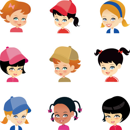 young girl: Cartoon Girls Set Illustration