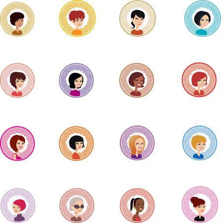 Set of 16 Woman Cartoon Avatars