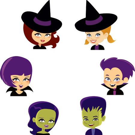 Set of Halloween Cartoon Kids