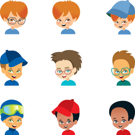 black boy: Set of  Boy Cartoon Avatars of Multiple Ethnicities