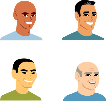 Clipart Cartoon Avatar Portrait of 4 man from shoulders up. This illustration headshots feature man of varied ethnicities.  Makes a great icon on profiles and other applications. Stock Photo