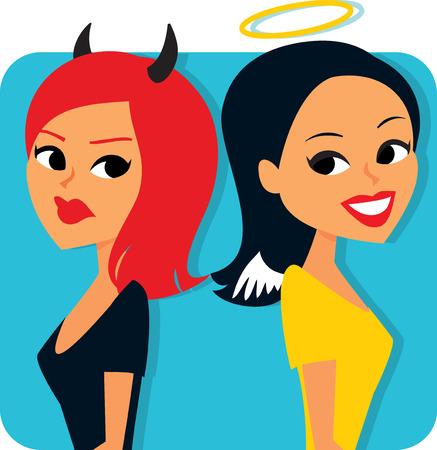Angel and Devil Cartoon photo