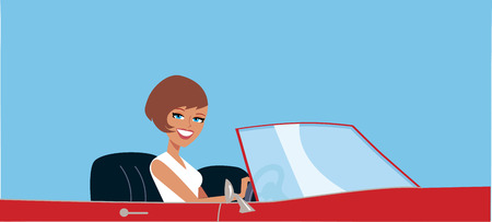 Woman Driving a Convertible Car Stock Photo