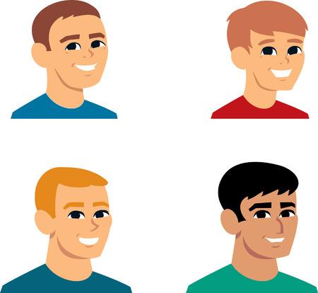 Set of Men Cartoon Avatar Portrait Stock Photo