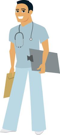 males: Cartoon Male Hospital Worker