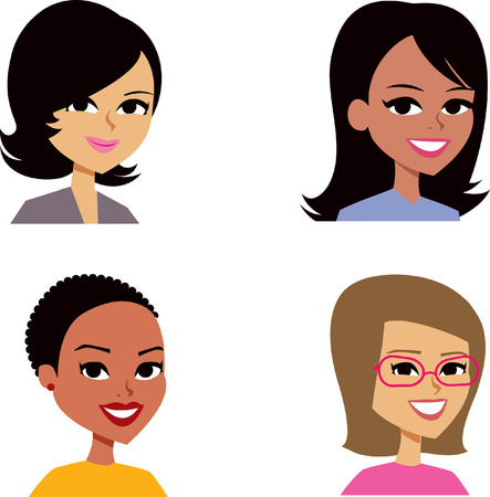 smiling: Set of Woman Cartoon Avatar Stock Photo
