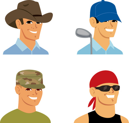 solider: Set of Men Cartoon Avatar Portrait Stock Photo