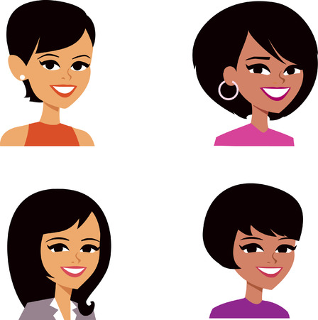 black hair girl: Set of Woman Cartoon Avatar Stock Photo