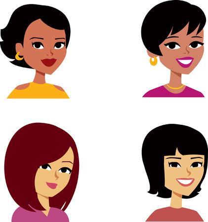 Set of Woman Cartoon Avatar Stock Photo