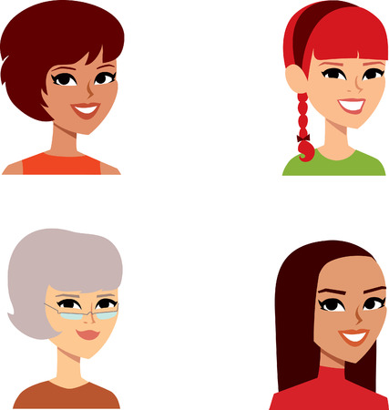 middle age woman: Set of Woman Cartoon Avatar Stock Photo