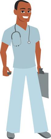 Cartoon Male Hospital Worker