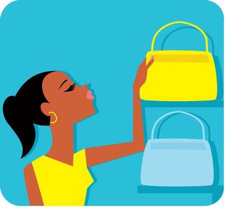 Woman With Handbags Illustration