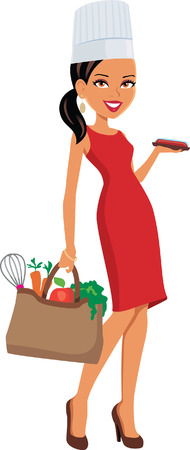 cocina caricatura: Mujer cocinero culinario