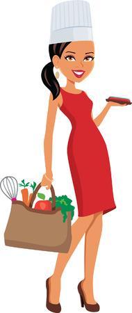 chef caricatura: Mujer cocinero culinario