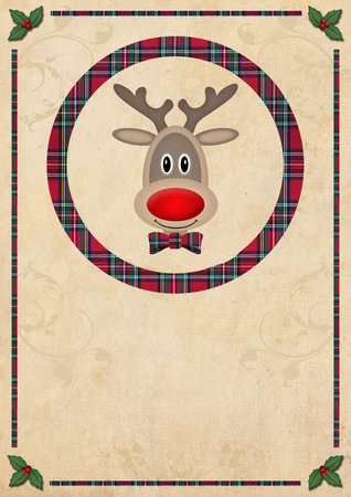 red plaid: cute reindeer in circle with red plaid pattern, on old paper background, christmas card design