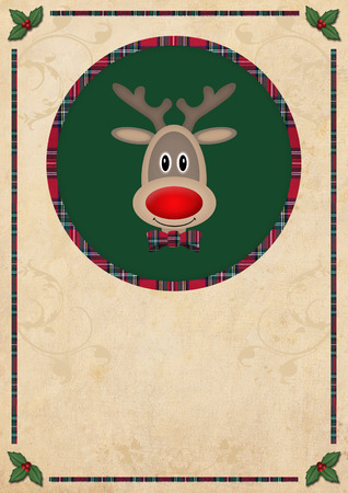 red plaid: cute reindeer in green circle with red plaid pattern border, on old paper background, christmas card design Stock Photo