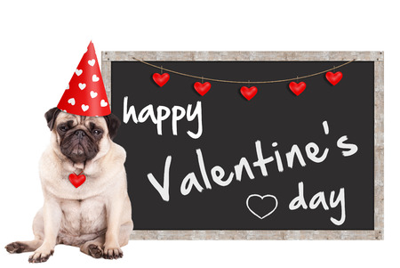 grumpy cute pug puppy dog wearing party hat with hearts, sitting next to blackboard sign with text happy valentine's day, on white background Stockfoto