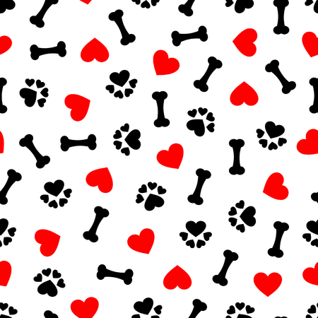 Cute seamless pattern with dog bone, paw print and red heart, transparent background