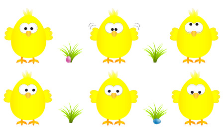 Collection of six funny yellow easter chicks with several expressions, vector illustration