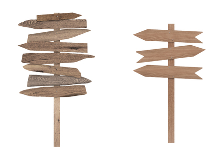lege houten directionele strand borden op de pool, geïsoleerd op een witte achtergrond Stockfoto