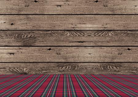 mooie rustieke tradional houten achtergrond van Kerstmis met rode en groene geruite patroon grond