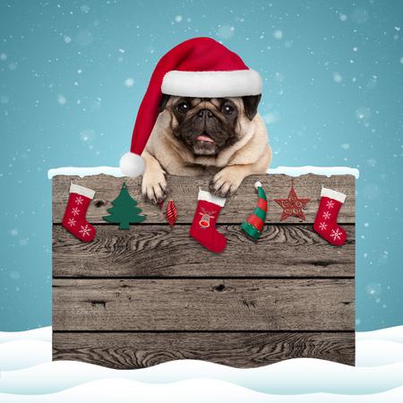 leuke pug puppyhond die santahoed het hangen met poten op doorstaan ??houten teken met Kerstmisdecoratie, op blauwe sneeuwachtergrond dragen als achtergrond