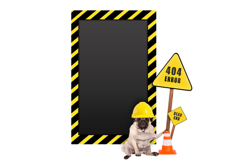 pug dog with yellow constructor safety helmet and 404 error and blank warning sign, isolated on white background