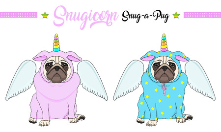 cute vector pug puppy dog sitting down, wearing pink and blue jumpsuit with unicorn horn with rainbow colors and angel wings