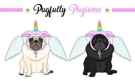 cute vector pug puppy dog sitting down, wearing pink bonnet with unicorn horn with rainbow colors and angel wings