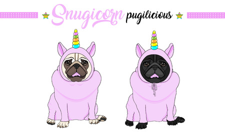cute vector pug puppy dog sitting down, wearing pink jumpsuit with unicorn horn with rainbow colors Illustration