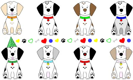 cute hand drawn vector illustration of puppy dog, sitting down, with collar and pawprint symbol