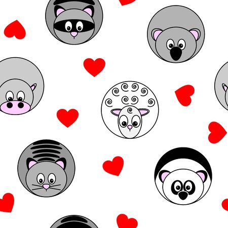 cute seamless pattern with vector illustrations of round animals and red hearts, separated from background Archivio Fotografico - 141608077