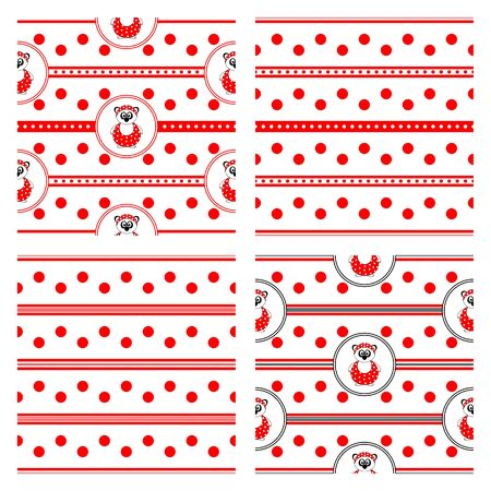 set of four seamless vector patterns with panda bear in bathing suit and red polka dots and stripes Stockfoto - 142424049