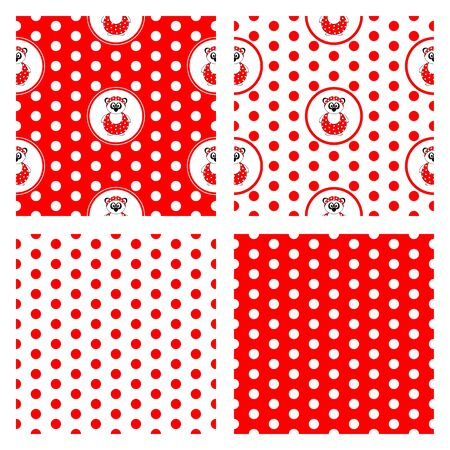set of four seamless vector patterns with panda bear in bathing suit and red and white polka dots