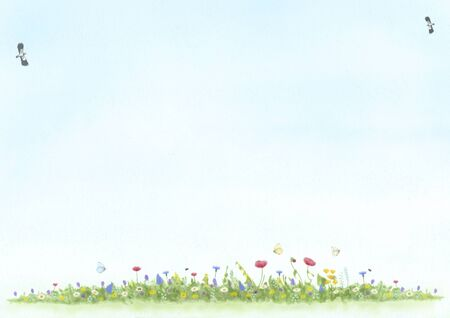 abstract illustration, hand drawn and painted view of meadow with wild flowers, birds and butterfly, mixed art on textured background