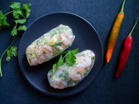 Nem song filled with shrims and rice noodles with peppers and cilantro Stok Fotoğraf