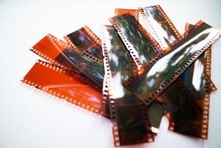Developed negative film strips. Isolated