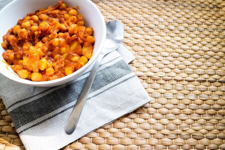 Spice chana masala traditional from India on a wooden background