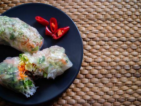 Vietnamese street food ready to eat summer rolls