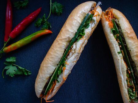 Banh mi bo from Vietnam filled with carrot, cucumber, beef and mayonaisse as sauce Stok Fotoğraf