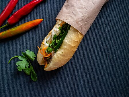 Vietnamse baguette cover with a paper and peppers and coriander on a gray background Stok Fotoğraf