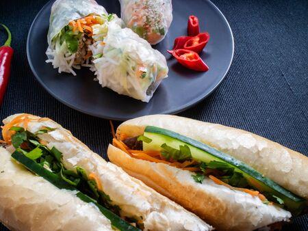 Summer rolls nor song and vietnamese sandwich banh mi bo