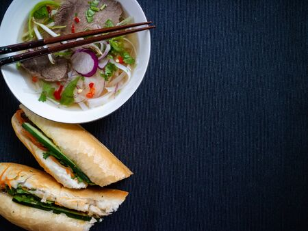 Beef soup from Vietnam and vietnamese baguette