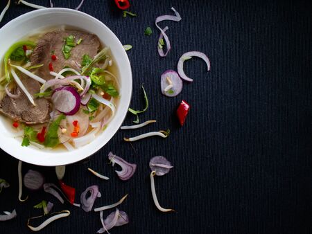 Pho bo soup with beef, soybeans and other vegetables from a Vietnamese market Stok Fotoğraf