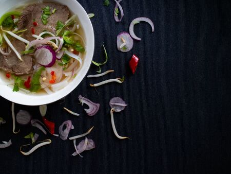Spicy Vietnamese soup pho bo with fresh cilantro and soybeans Stok Fotoğraf