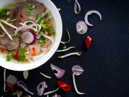 Top view of pho bo with cilantro, peppers and soy sprouts Stok Fotoğraf