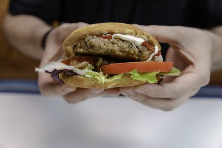 Hands of young man holding a delicious hamburger with meat, cheese, tomato, lettuce, and more ingredients ready to eat it