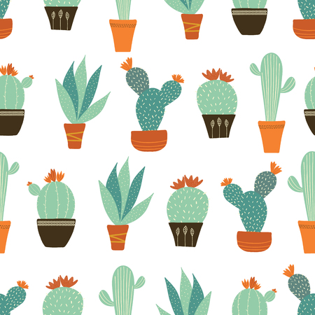 Vectorsucculents garden seamless pattern on a white background. Perfect for fabric, wrapping paper, scrapbooking, wallpaper, gifts, stationery projects.