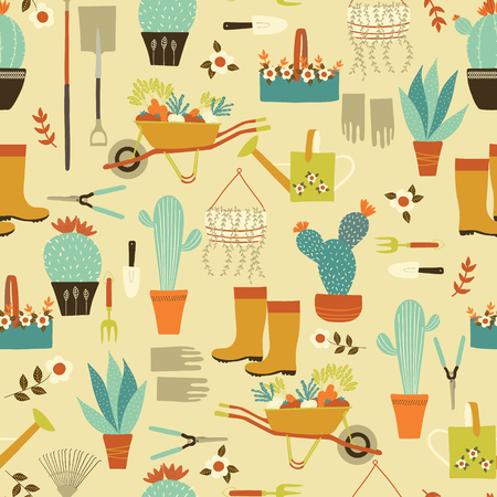 Vector yellow garden utensils and succulents seamless pattern design.