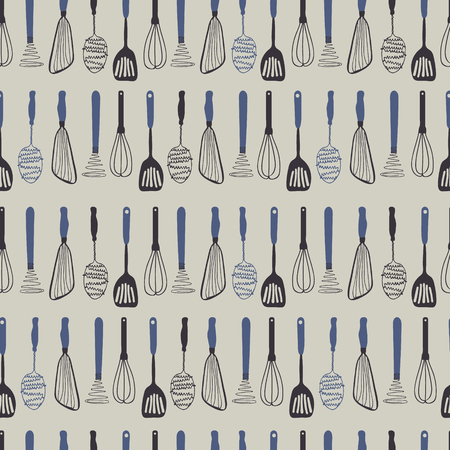 Vector kitchen seamless repeat pattern with vintage kitchen utensils on a grey background. Perfect for fabric, wallpapper, wrapping paper projects